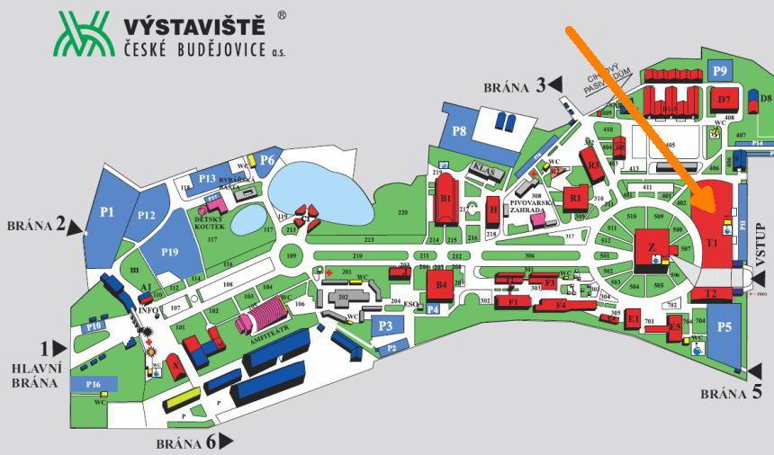 Mapa výstaviště České Budějovice